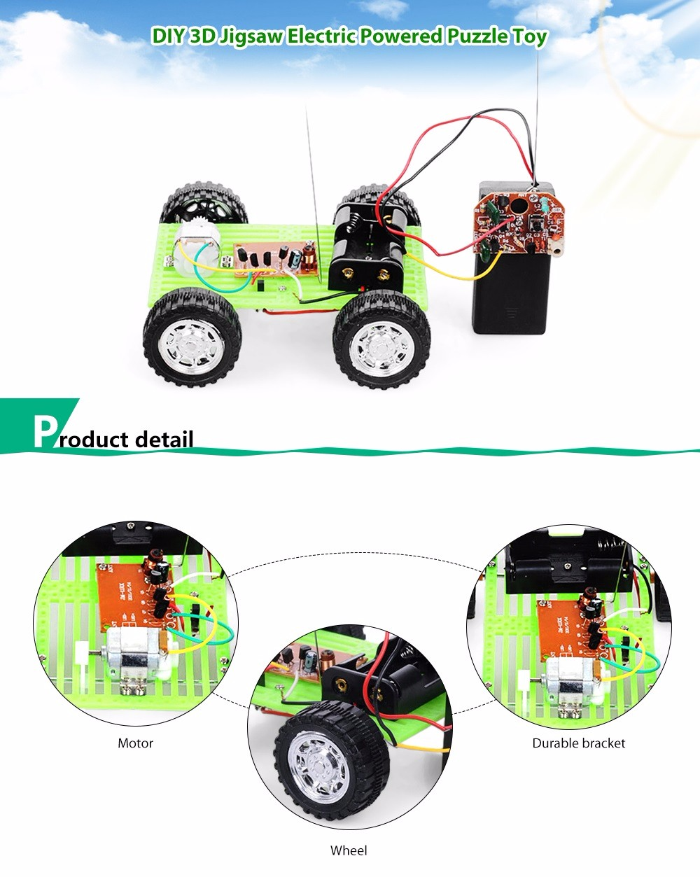 PXWG DIY Plastic Puzzle Vehicle Shape Electric Powered Toy