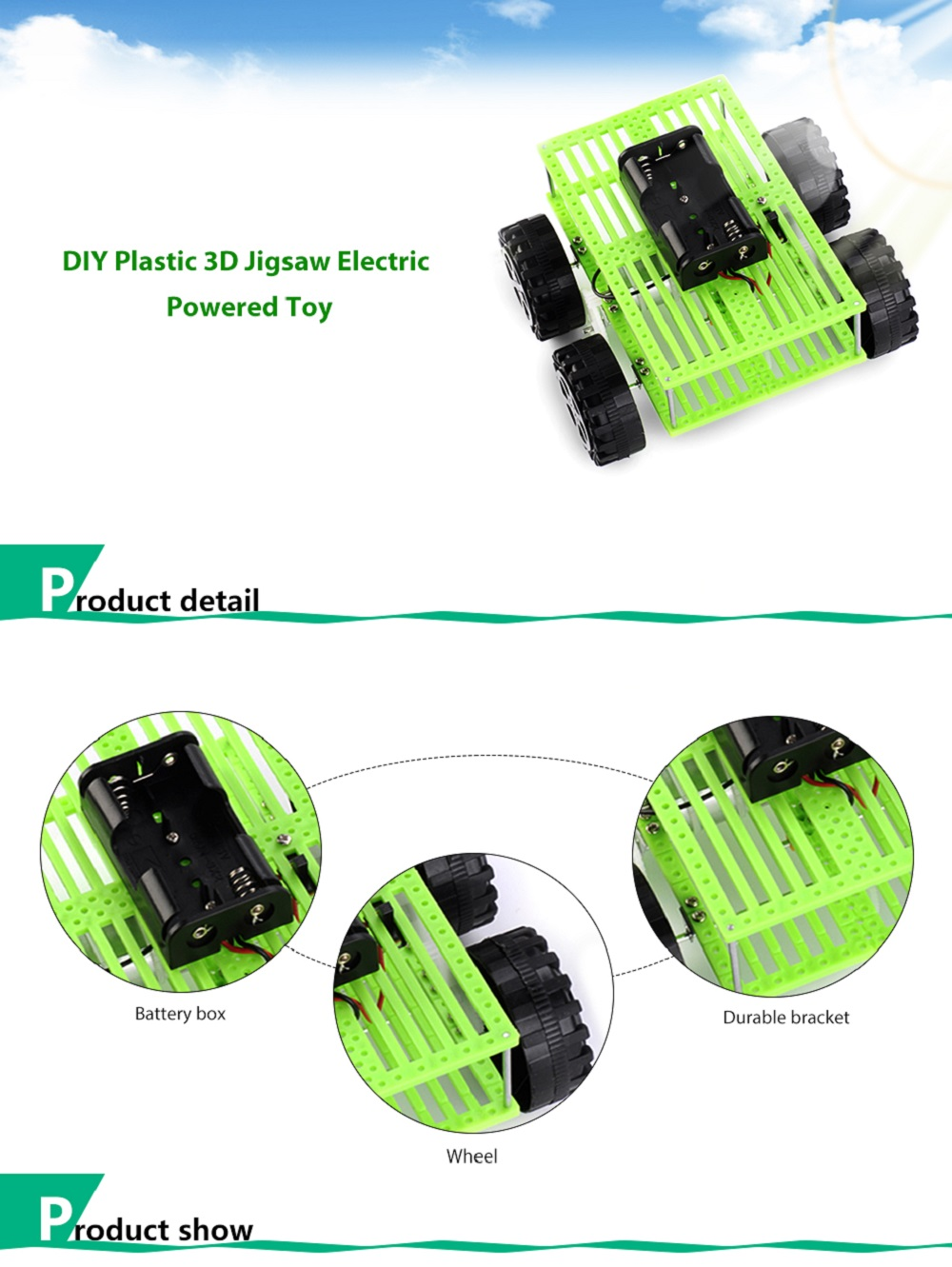 PXWG DIY Plastic 3D Puzzle Jigsaw Vehicle Style Electric Powered Toy