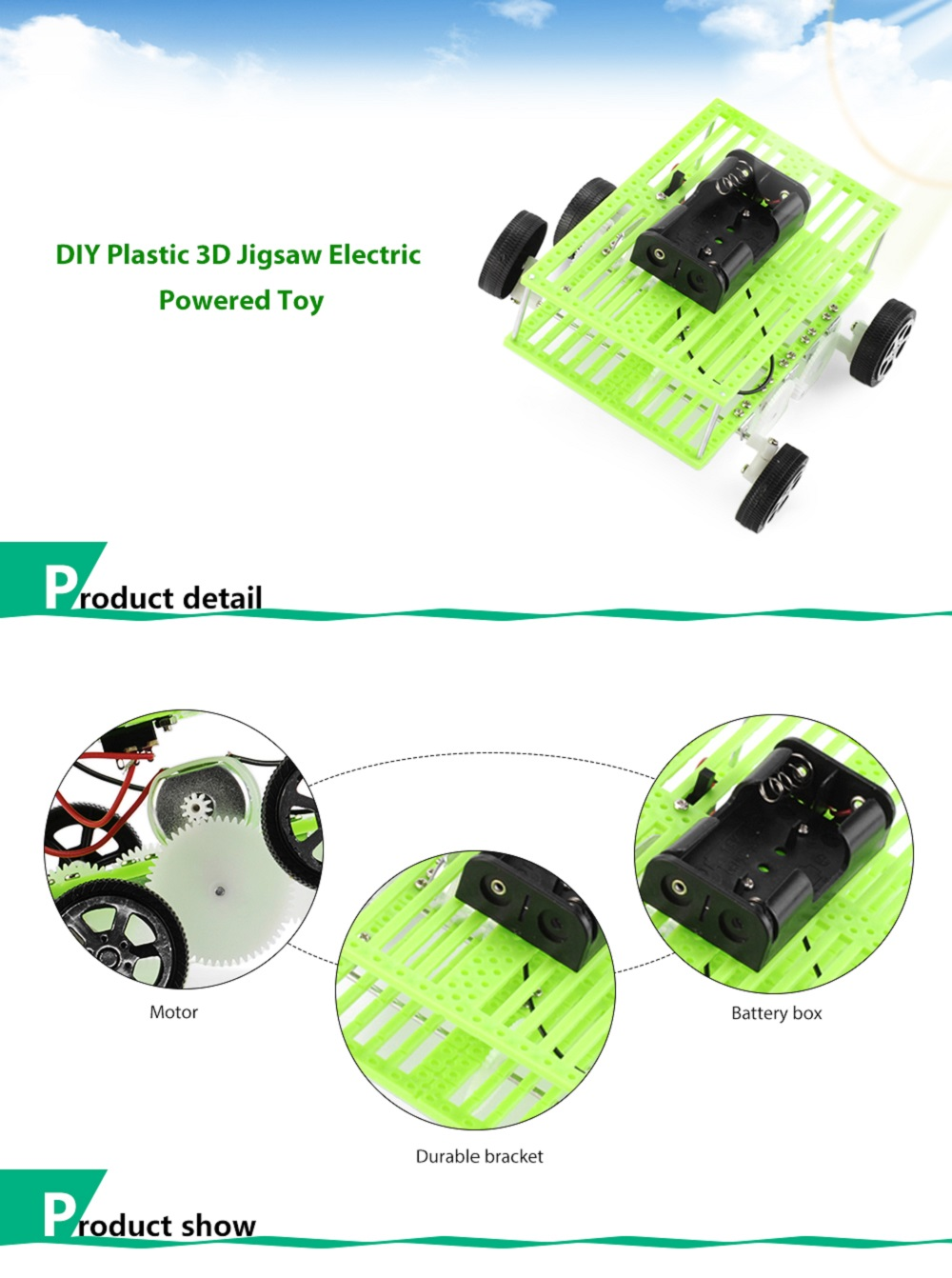 PXWG DIY Plastic 3D Jigsaw Vehicle Style Electric Powered Toy
