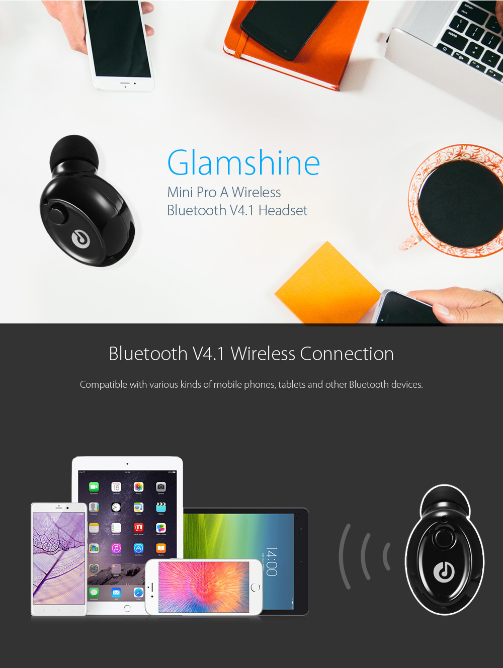 Glamshine Mini Pro A Wireless Bluetooth V4.1 Music Headset with Foldable USB Charger