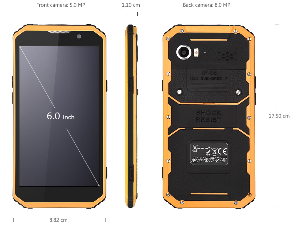 Ken Xin Da Proofings W9 Android 5.1 6.0 inch 4G Phablet MTK6753 64bit Octa Core 1.3GHz 2GB RAM 16GB ROM IP68 Waterpoof Dustproof Shockproof Bluetooth 4.0