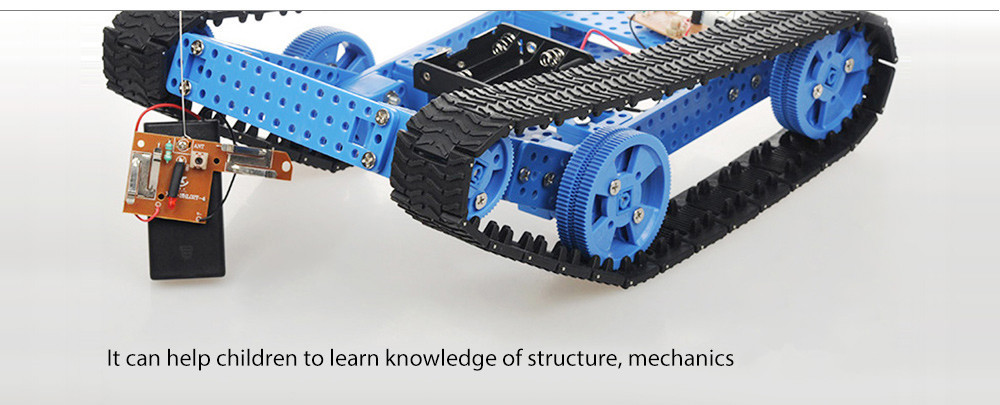 PXWG DIY Plastic Puzzle Tank Style Electric Powered Toy