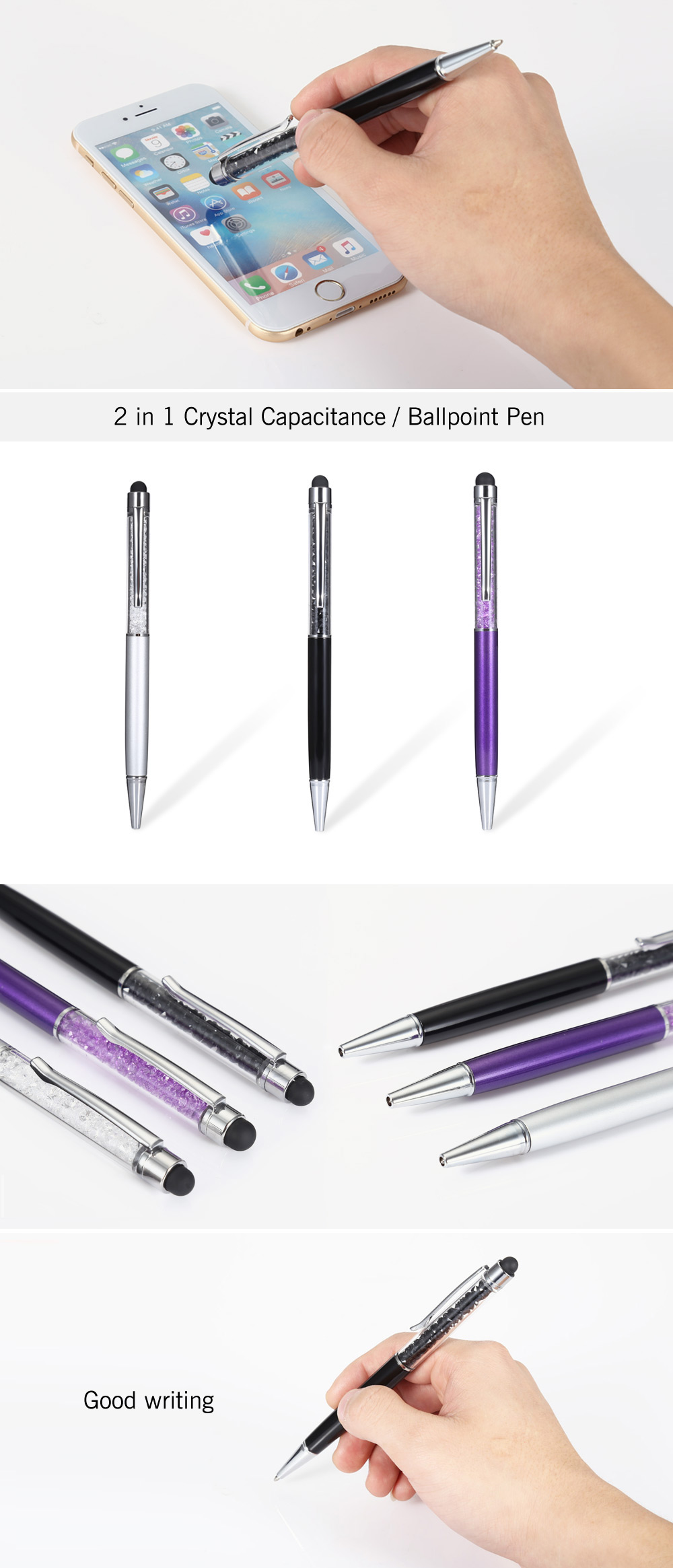 2 in 1 Crystal Capacitive Stylus / Touch Pen with Ballpoint