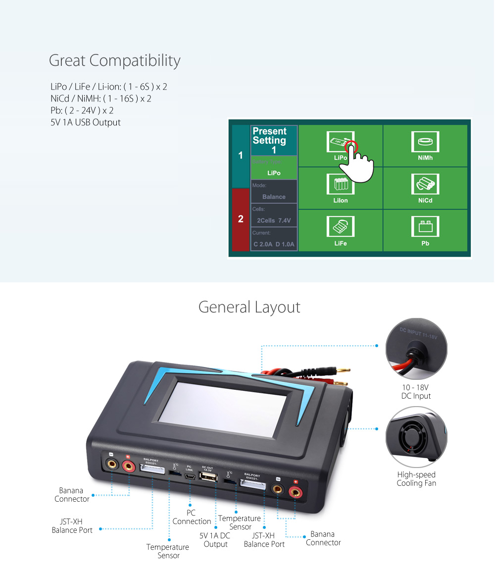 imaxRC X400Twins Intelligent Touch Screen Balance Charger with Dual-channel Output / 4.3 inch Display / Temperature Sensor
