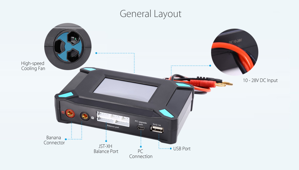 imaxRC X180 DC Touch Screen Balance Charger with 180W Power 5V 2.1A USB Port Output for 1 - 6S LiPo / Li-ion / LiFe