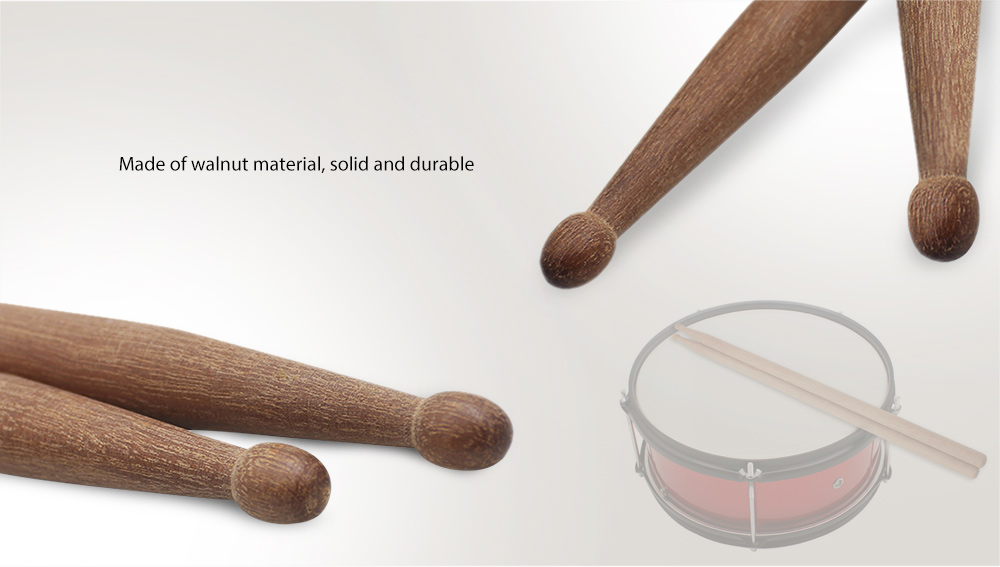 Brown 5A Wooden Drum Stick Walnut Percussion Instrument Accessory