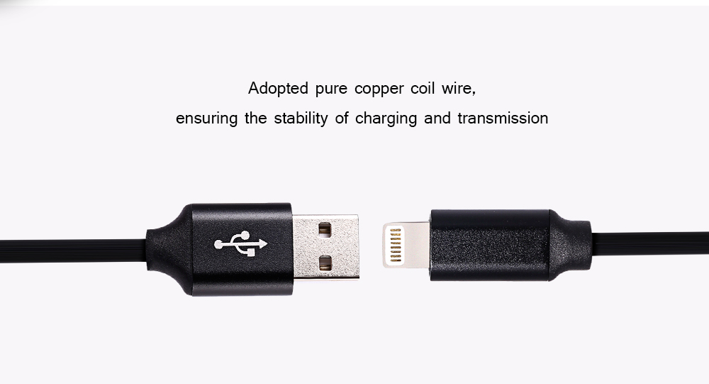 PVC Cover 8 Pin USB Cable Data Sync Charging Cord - 1m