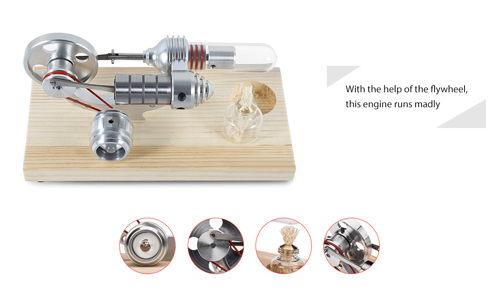 Steam Engine with Light Single Flywheel Education Toy Electric Power Generator Kit