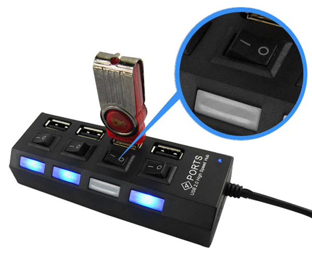 4-port USB 2.0 Hub 480Mbps with On / Off Switch for PC / Laptop / Camera / Mouse / Hard Disk etc.