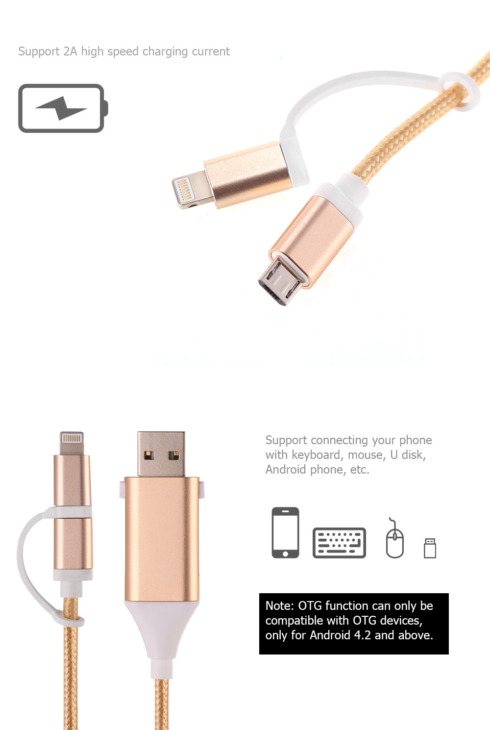 Mimao USB OTG 2-in-1 Cable Data Sync Charging Cord 8 Pin Micro USB Connector - 1m