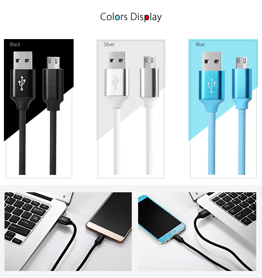 PVC Cover Micro USB Cable Data Sync Charging Cord - 1m