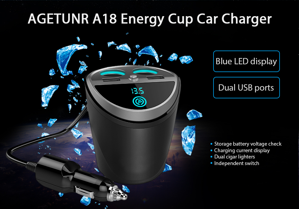 AGETUNR A18 Car Charger with Dual USB Ports and Double Cigar Lighters
