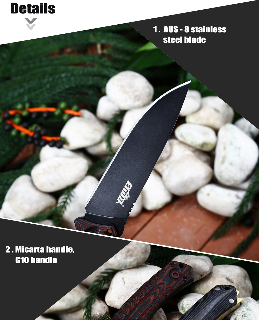 CIMA G20 AUS - 8 Stainless Steel Fixed Blade Knife with G10 Handle