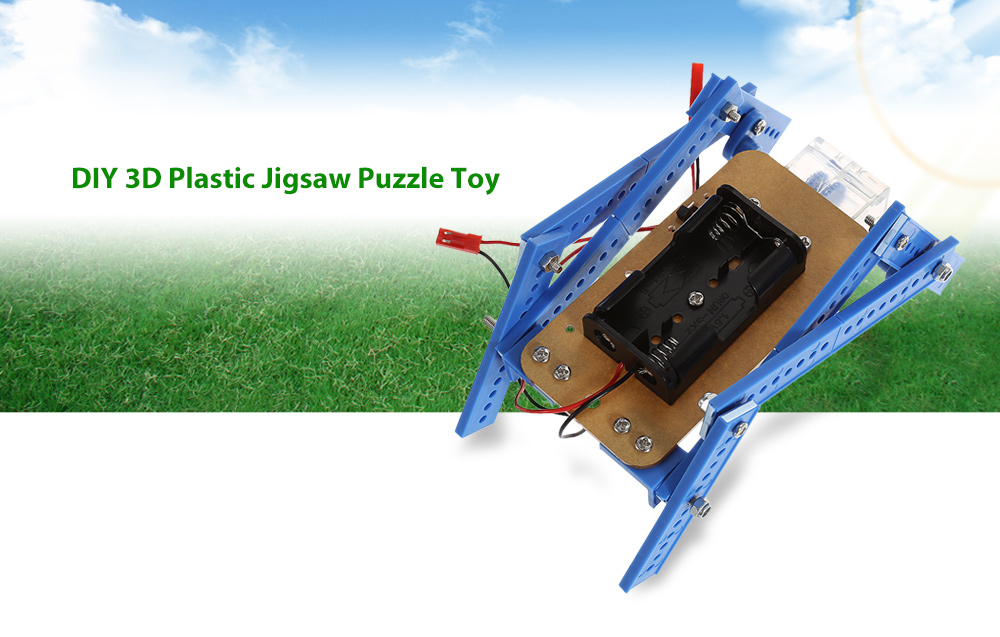 PXWG DIY 3D Puzzle Robot Style Plastic Electric Powered Toy - 1pc