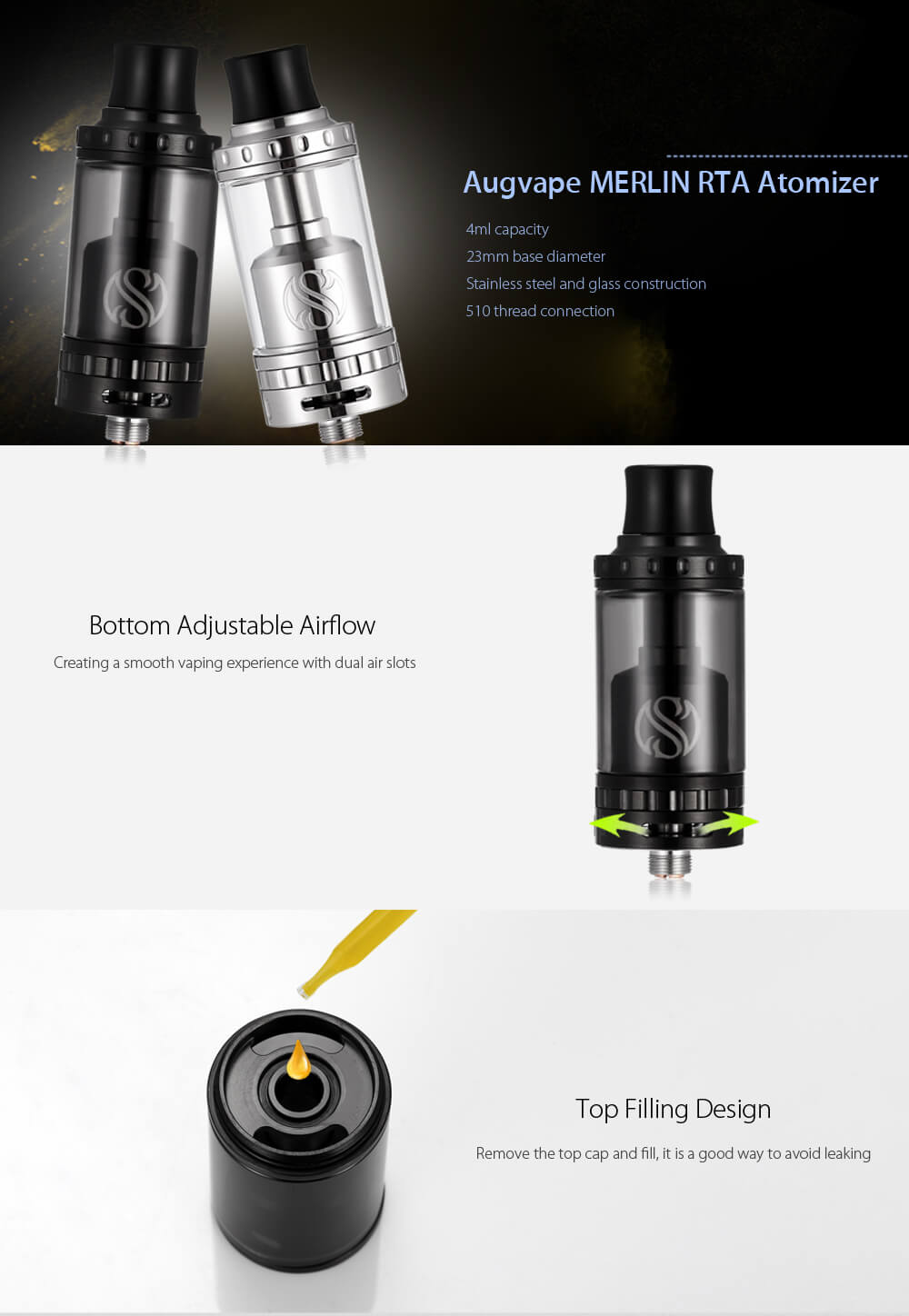 Original Augvape MERLIN RTA 4ml Atomizer with Top Filling / Juice Flow Control for E Cigarette