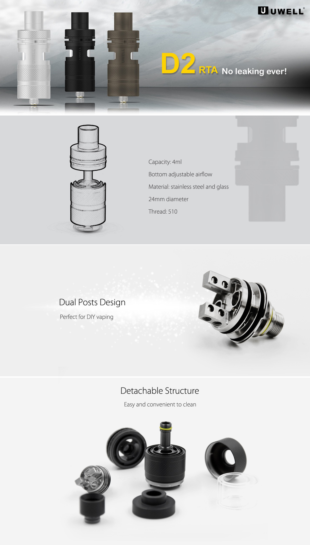 Original UWELL D2 RTA Tank with 4ml Capacity / Bottom Adjustable Airflow for E Cigarette