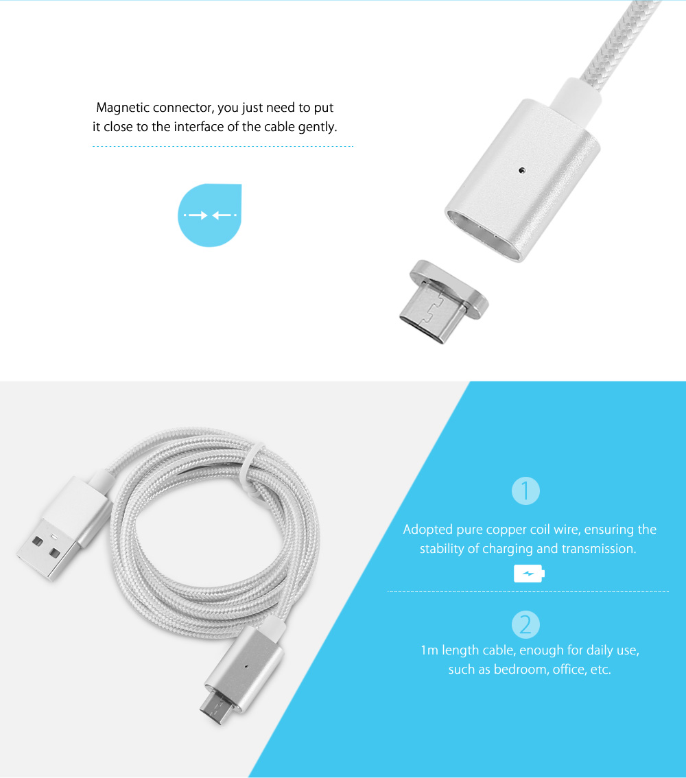 Magnetic Micro USB Cable Nylon Braided Data Sync Charging Cord - 1m
