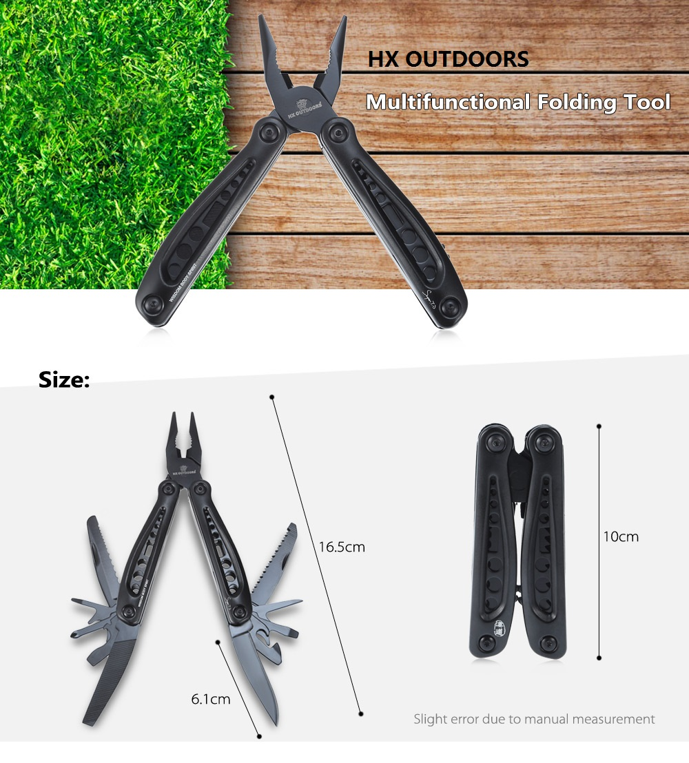 HX OUTDOORS 440C Stainless Steel Folding Multifunctional Pliers with Knife / Saw / Screwdriver / Bottle Opener