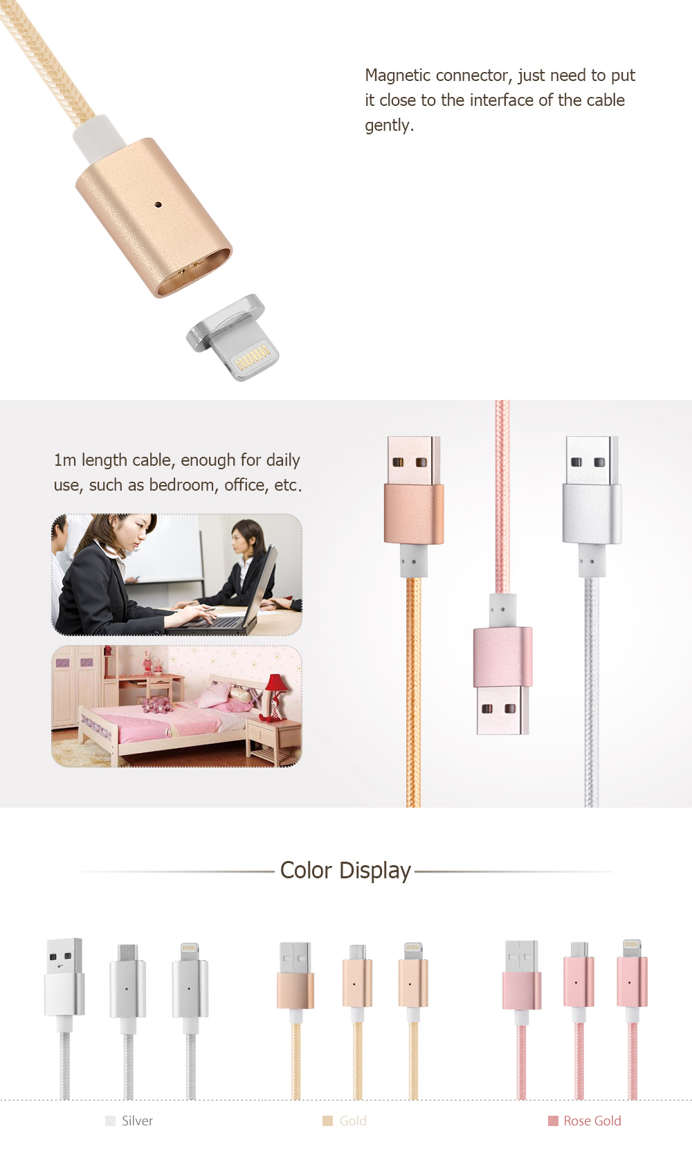 Magnetic Micro USB 8 Pin Cable Nylon Braided Data Sync Charging Cord - 1m