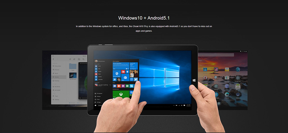 CHUWI Hi10 Pro CWI529 2 in 1 Ultrabook Tablet PC 10.1 inch Windows 10 + Android 5.1 IPS Screen Intel Cherry Trail Z8350 64bit Quad Core 1.44GHz 4GB RAM 64GB ROM Dual Cameras Stylus Function with Keybo