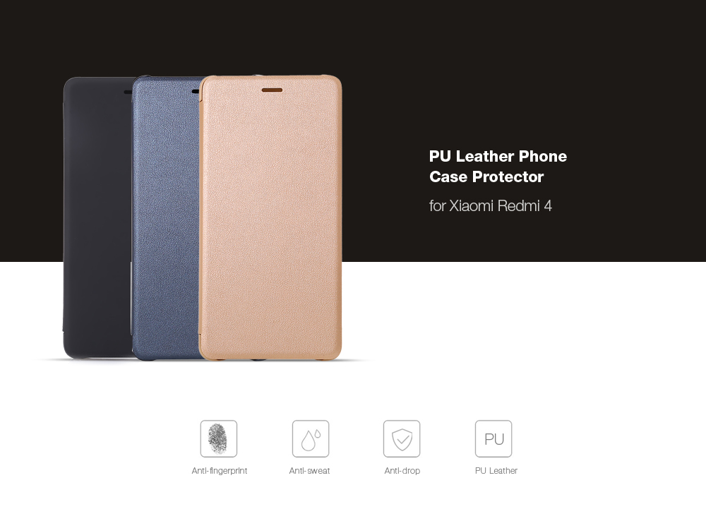 Xiaomi Redmi 4 Standard Edition PU Leather Protective Case Smart Auto Wake-up Function