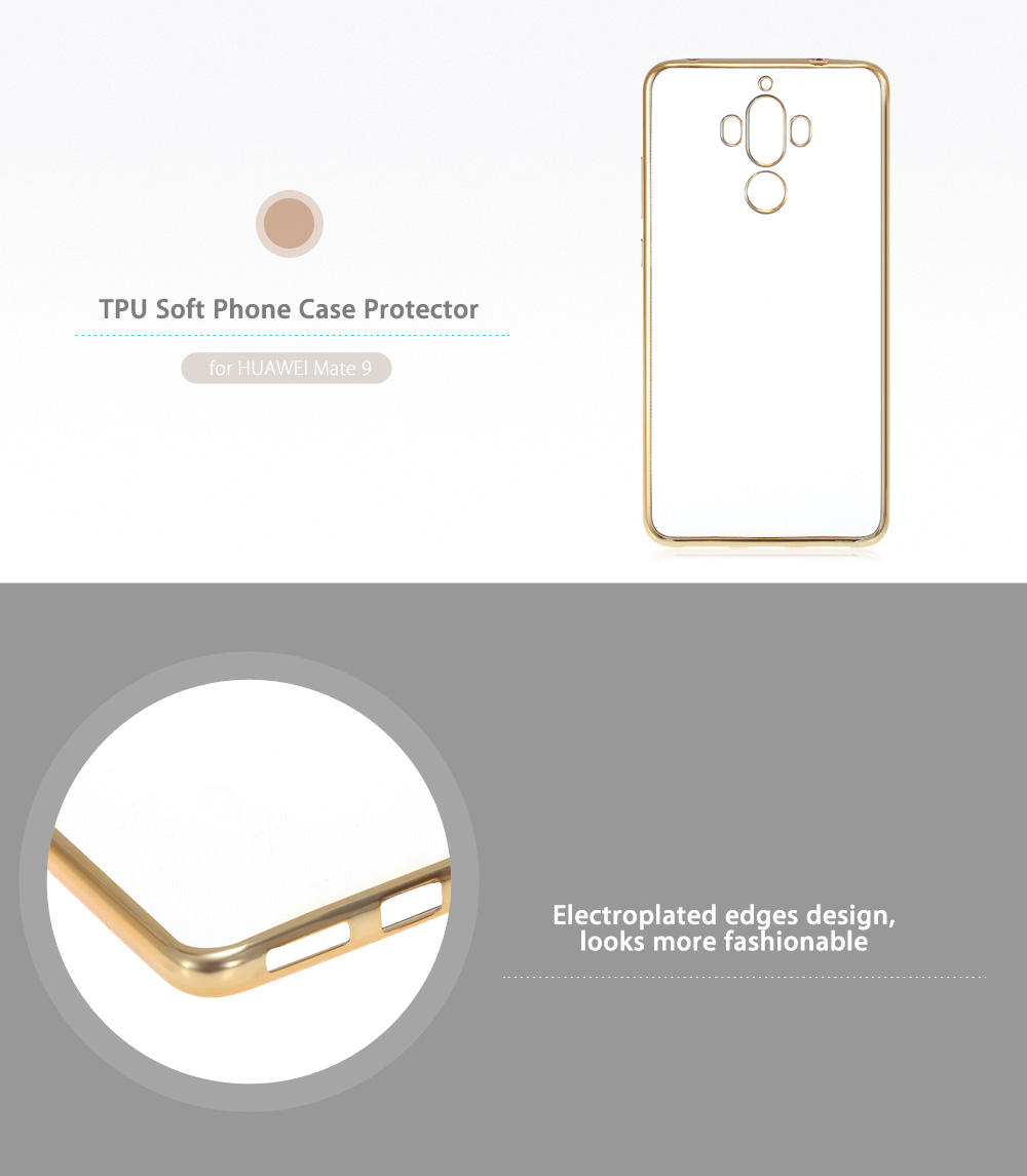 ASLING TPU Soft Protective Phone Case for HUAWEI Mate 9 Electroplated Edge Transparent Shell