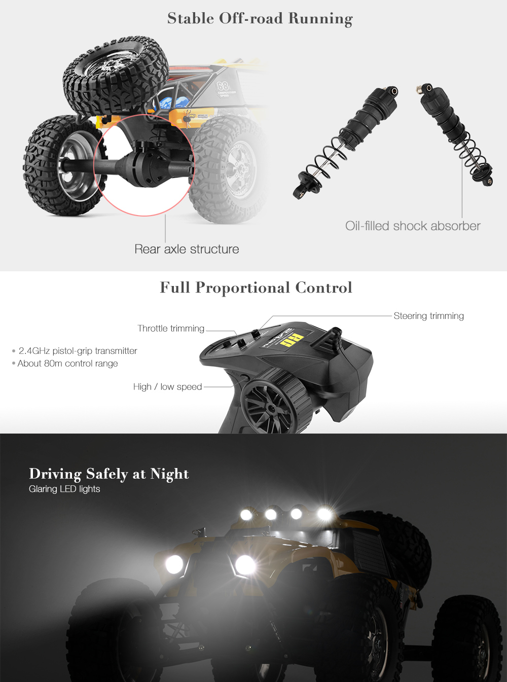 HBX 12889 Thruster 1:12 RC Off-road Truck RTR High Low Speed / 2.4GHz 4WD / Dual Servos