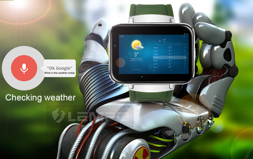 LEMFO LEM4 3G Smartwatch Phone 2.2 inch Android 4.4 MTK6572 1.2GHz Dual Core 4GB ROM Sedentary Reminder Pedometer