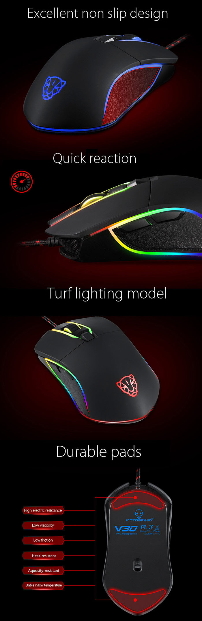 Motospeed V30 Professional USB Wired Gaming Mouse with LED Backlit Display