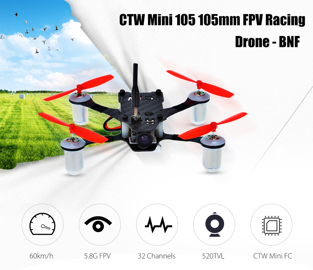 CTW Mini 105 FPV Racing Drone BNF 5.8G 520TVL / 8520 Coreless Motor / 1mm Thick Carbon Fiber Chassis