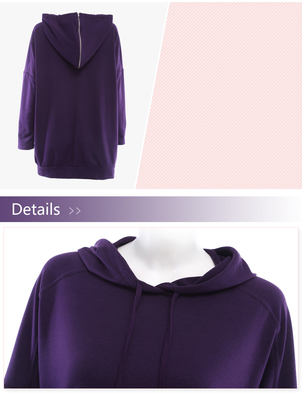 Haoduoyi Female Leisure Loose Pure Color Hoodie Coat Side-slit Style