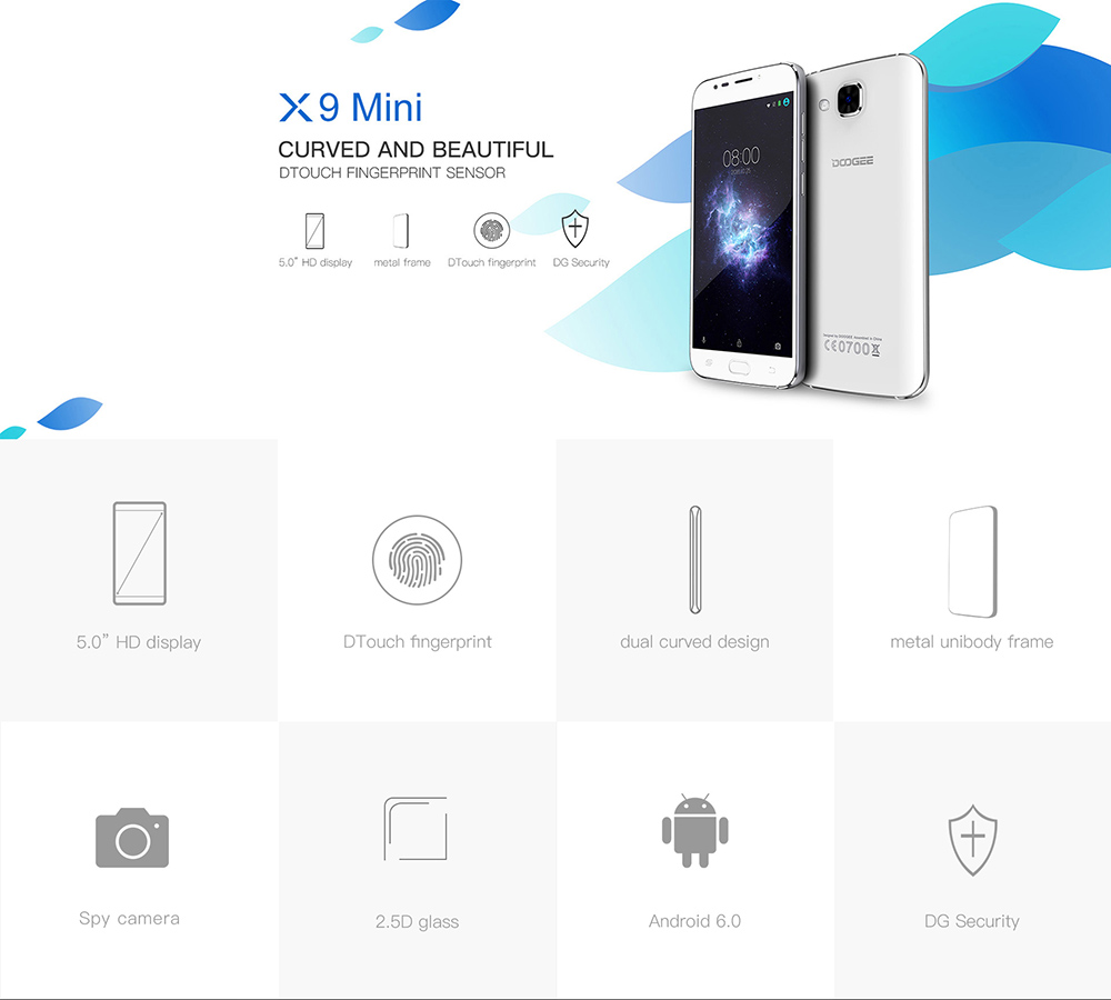 DOOGEE X9 MINI 5.0 inch 3G Smartphone Android 6.0 MTK6580 Quad Core 1.3GHz 1GB RAM 8GB ROM Dual Cameras GPS Smart Gesture