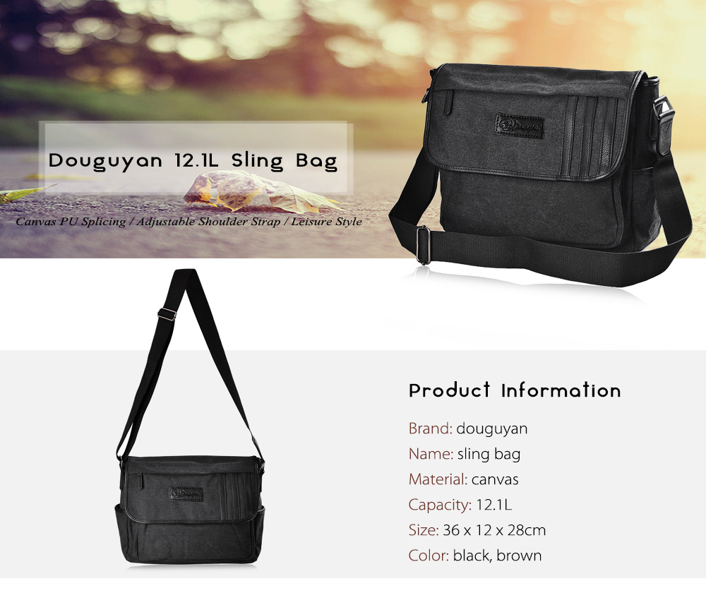 Douguyan 12.1L Sling Bag Canvas PU Splicing Leisure Single-shoulder Backpack