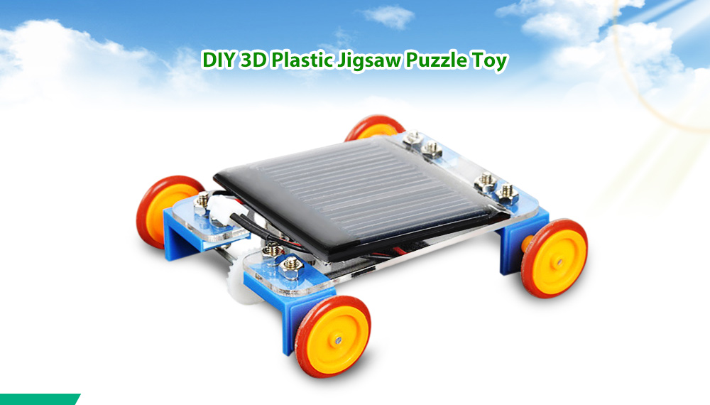 PXWG DIY Jigsaw Plastic Vehicle Style Green Energy Solar Power Energy-saving Toy