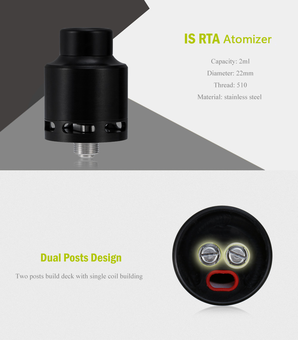 IS RTA Atomizer with Bottom Airflow / 2ml Capacity for E Cigarette