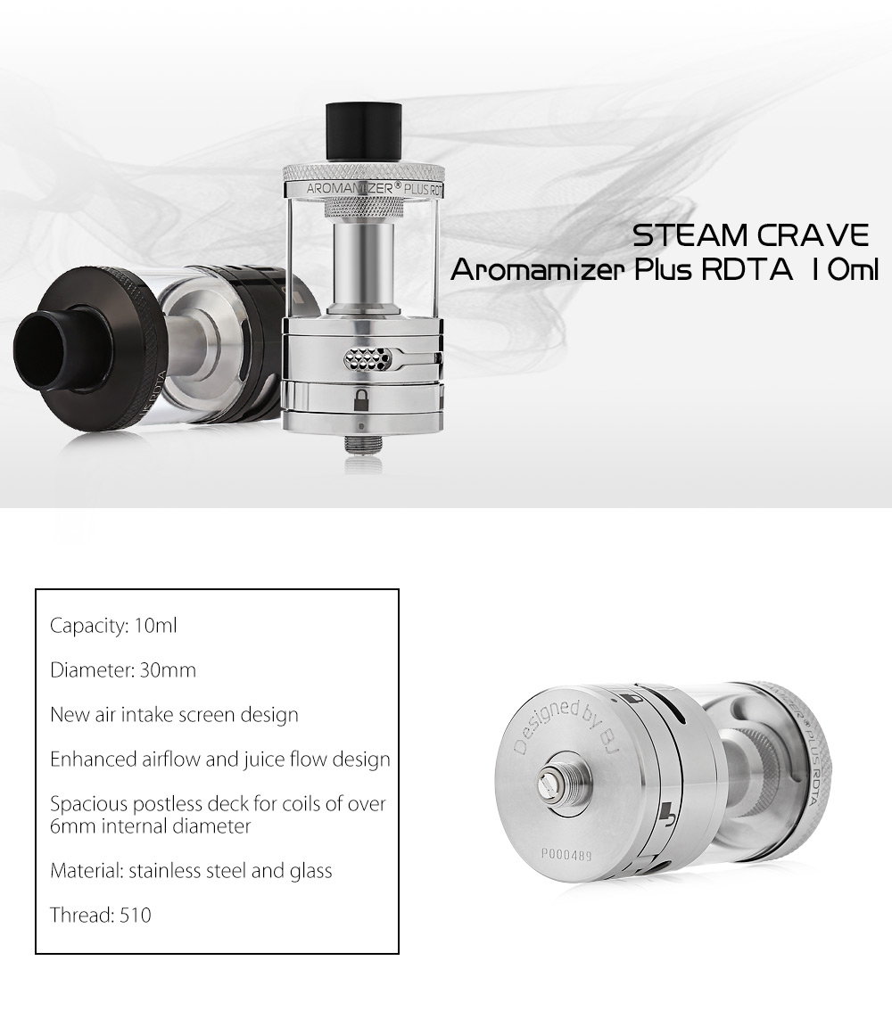 Original STEAM CRAVE Aromamizer Plus RDTA 10ml with Juice Flow Control for E Cigarette