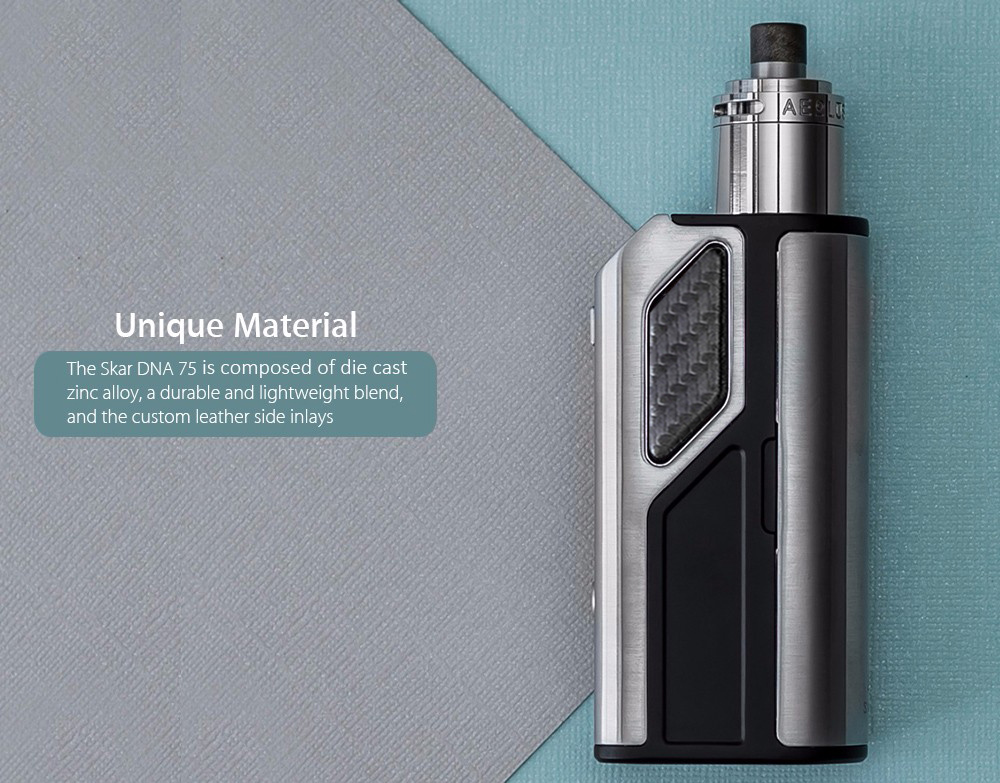 Original LOST VAPE SKAR DNA 75W TC Box Mod with 200 - 600F / 18650 / 26650 Battery Supportive / Leather Surface for E Cigarette