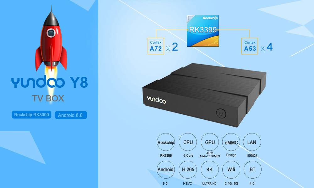 YUNDOO Y8 TV Box ARM Cortex-A72 + ARM Cortex-A53 CPU 64 bit Android 6.0 BT 4.1