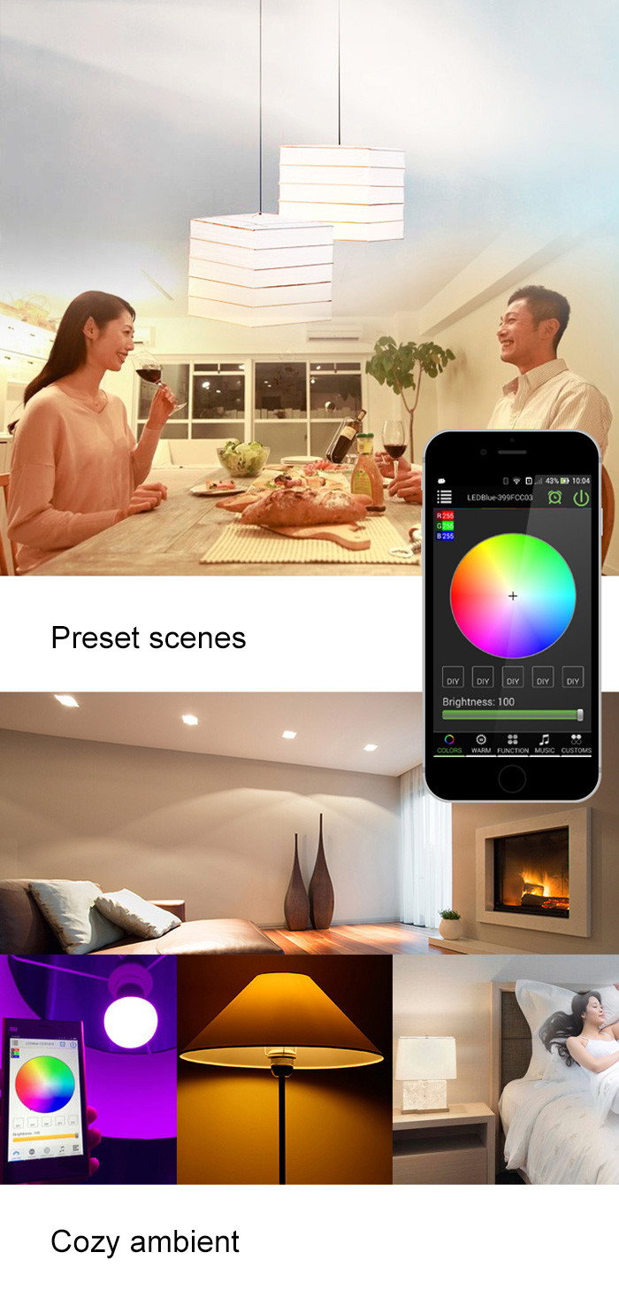 Magic Blue UU Bluetooth 4.0 Smart LED Bulb App Remote Control 16 Million Colors Bedside Lamp