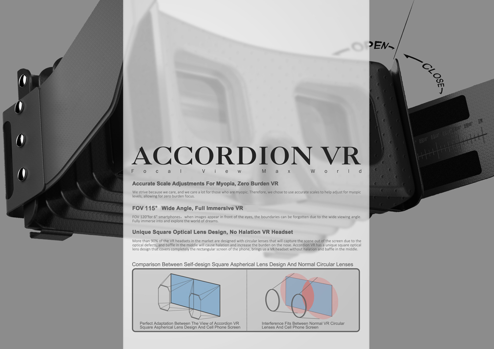Focalmax Accordion VR Virtual Reality 3D Glasses for 4.5 - 6.0 inch Smartphone