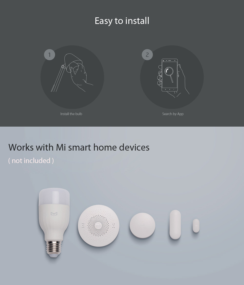Original Xiaomi Yeelight E27 Smart LED Bulb WiFi Control Dimmable Thunder-proof Bedside Lamp