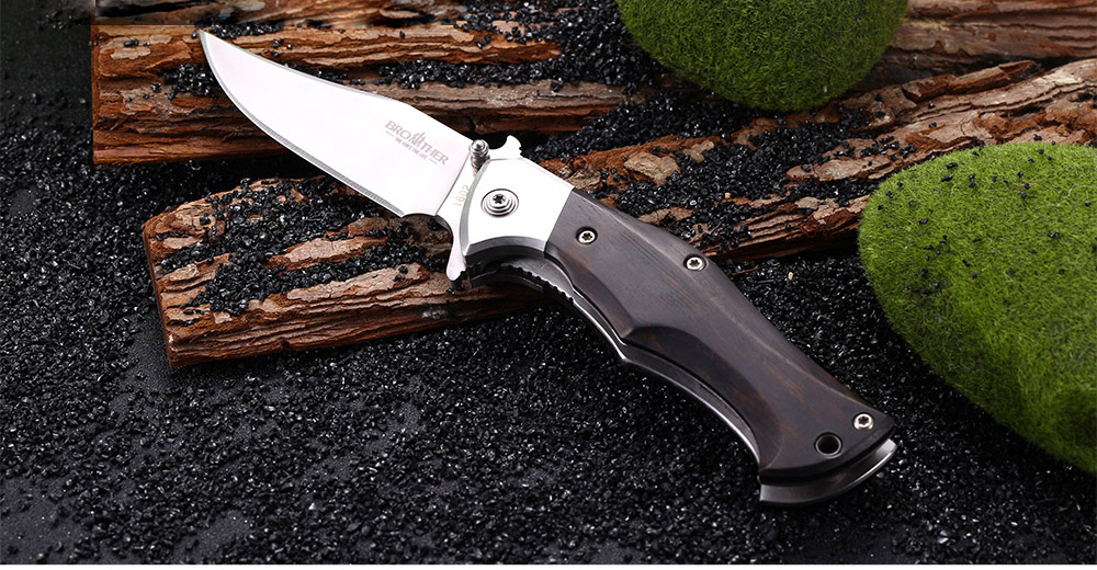 Brother 1602 Liner Lock Folding Knife with Wooden Handle