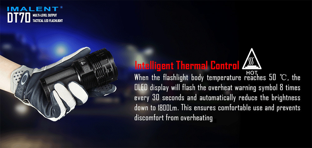 IMALENT DT70 16000Lm Cree XHP70 OLED Rechargeable LED Flashlight Torch