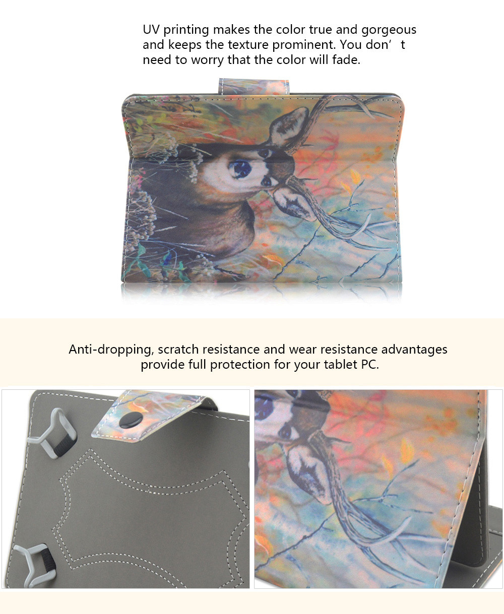 SZKINSTON Magical Deer Style Protective Case for 7 / 8 inch Tablet PC Full Body Folding Stand Design