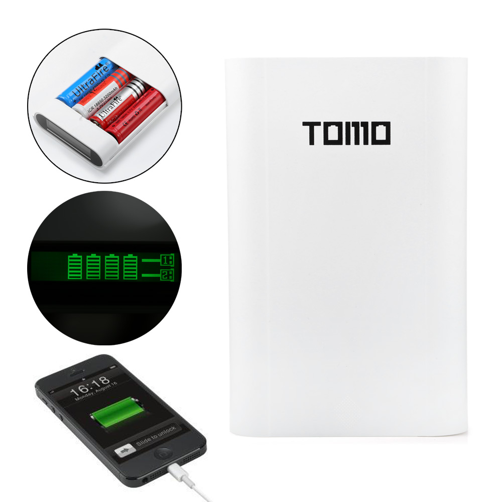 TOMO V8 - 4 18650 USB LCD Battery Charger Power Bank Dual Use