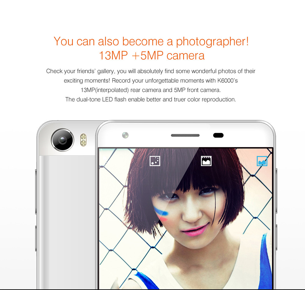 5.5 inch OUKITEL K6000 4G Phablet Android 5.1 MTK6735 64bit Quad Core 1.0GHz 2RB RAM 16GB ROM 13.0MP + 5.0MP OTG 2.5D Screen Fast Charging