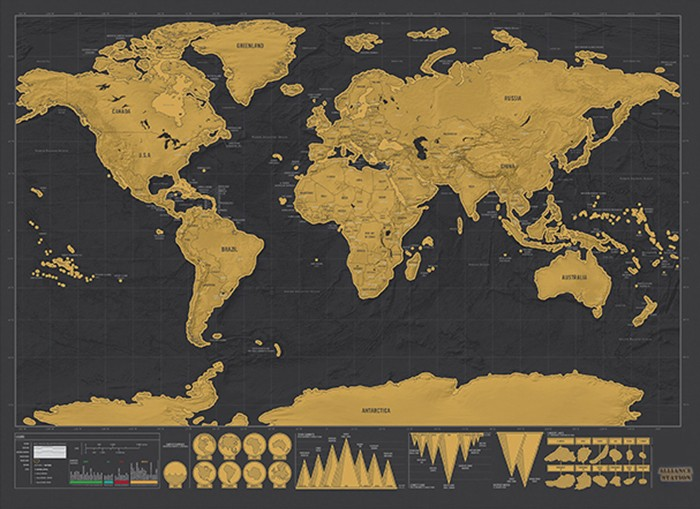 World Wall Scratch Map Creative Bedroom Office Decoration - 16.6 x 11.8 inch