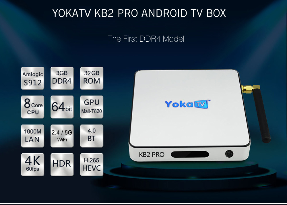 YOKATV KB2 PRO Android 6.0 Octa Core TV Box Amlogic S912 Support for KODI 17.0 Bluetooth 4.0 Streaming Media Player