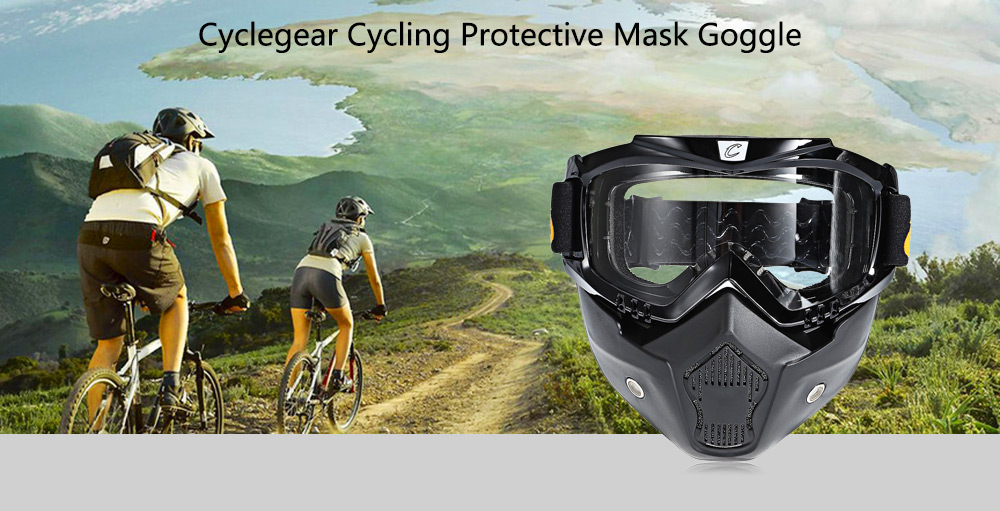 Cyclegear CG03 Cycling Detachable Protective Goggle Glasses with HD PC Lens