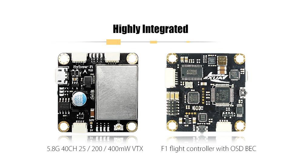Flytower F1 Flight Controller with 4-in-1 BLHeli 20A ESC / 5.8G 40CH VTX / OSD BEC